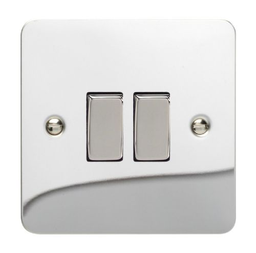Varilight XFC2D Ultraflat Polished Chrome 2 Gang 10A 1 or 2 Way Rocker Light Switch